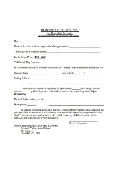 non public school transportation request form