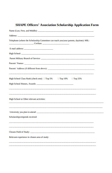 officers scholarship application form