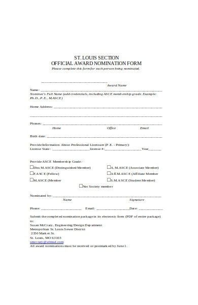 official award nomination form in pdf
