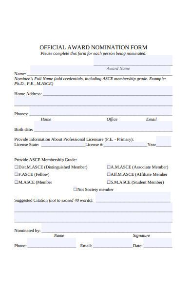 official award nomination form