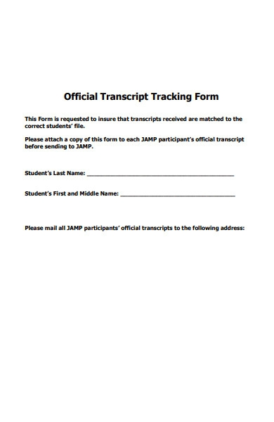 official transcript tracking forms
