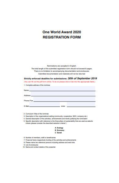 one world award registration form