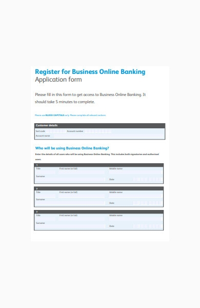 online banking business application form