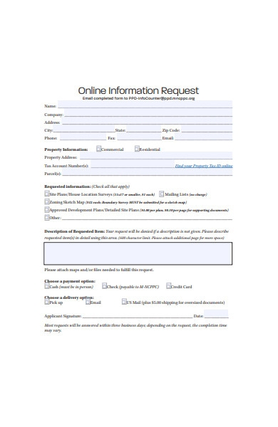 online information request form
