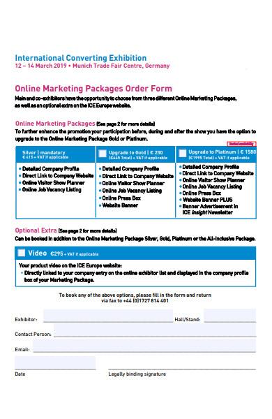 online marketing packages order form