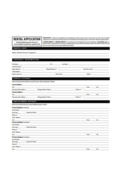 online rental application form