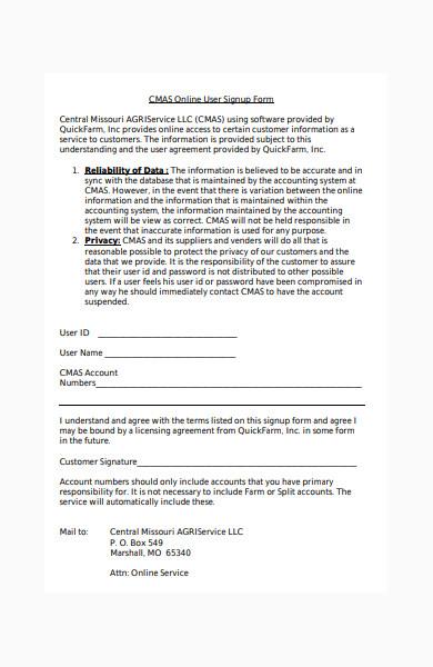 online user signup form