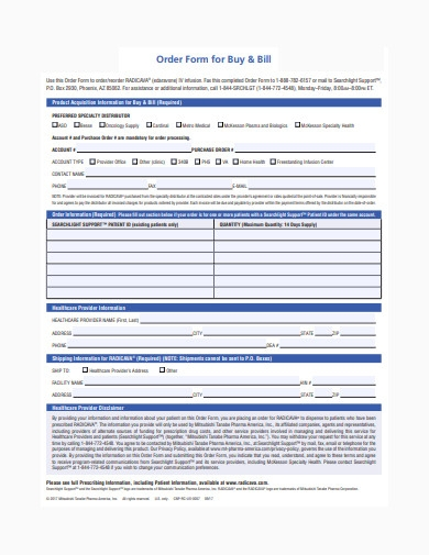 order form for buy and bill template