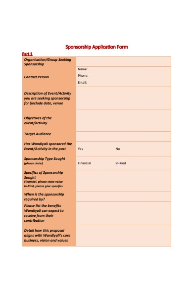 organisation sponsorship application form