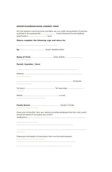 parent consent sports form
