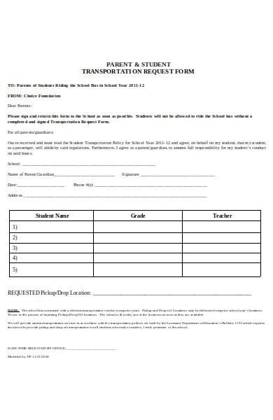 parent transportation request form