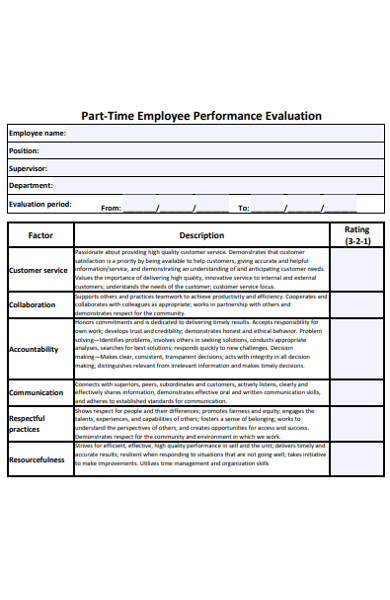 part time employee evaluation form
