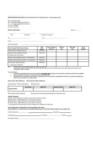 participant reservation form