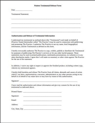 patient testimonial release form