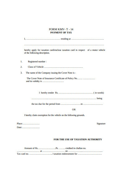 payment of tax form