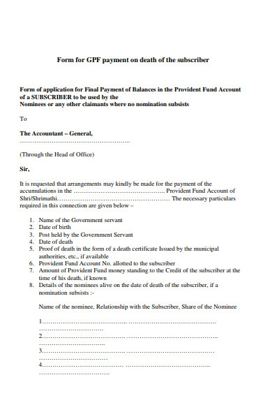 payment on death of subscriber form