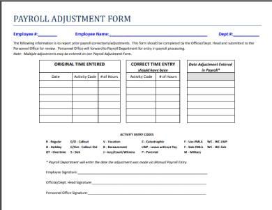 payroll adjustment form sample template