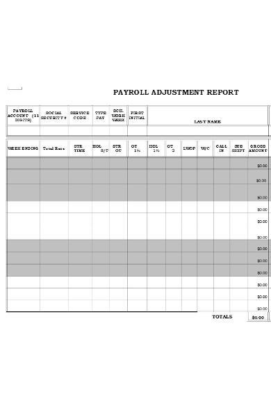 payroll adjustment report form