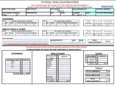 payroll reallocation form sample