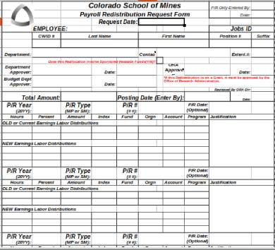 payroll reallocation redistribution request form