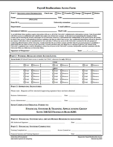 payroll reallocations access form