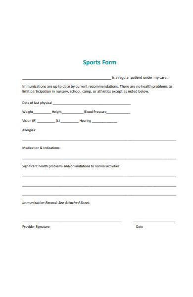 pediatrics sports form