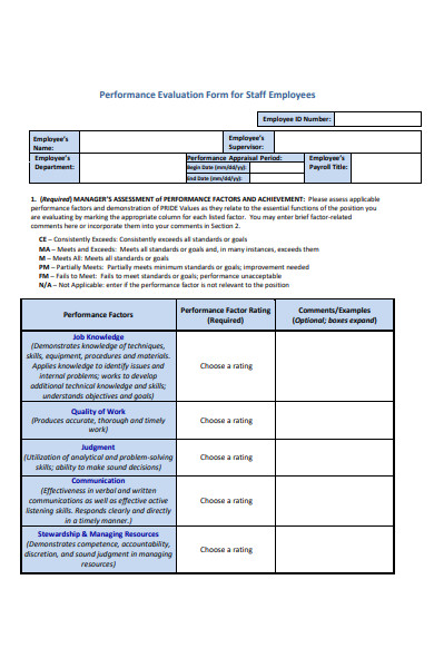performance evaluation form for staff employee