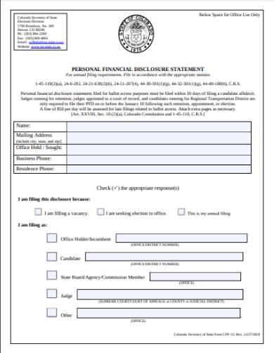 personal campaign finance disclosure form