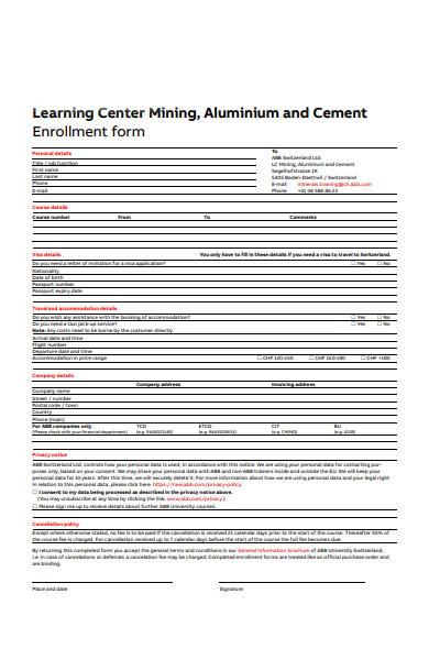 personal enrolment form
