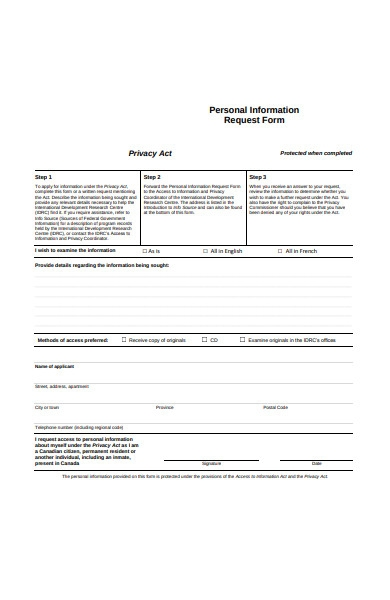 personal information request form