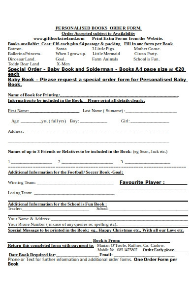 personalised book order form