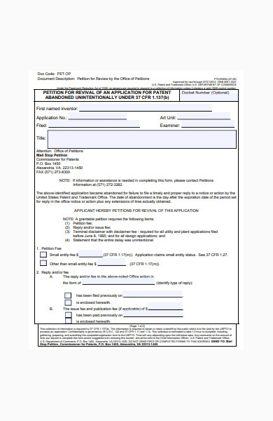 petition form for review