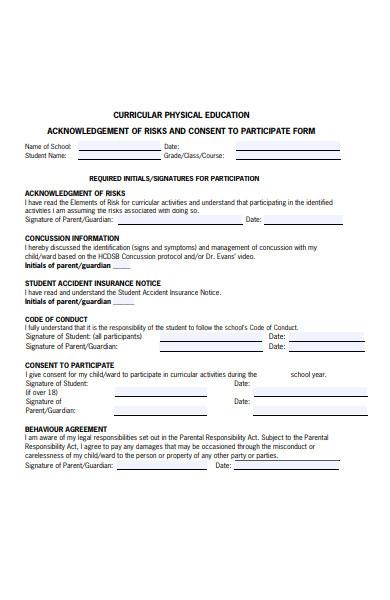 physical education form
