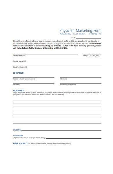 physician marketing form