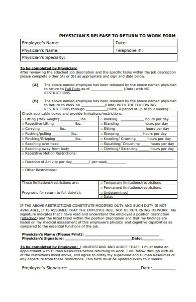 physician speciality return to work form