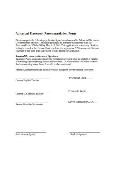 placement recommendation form