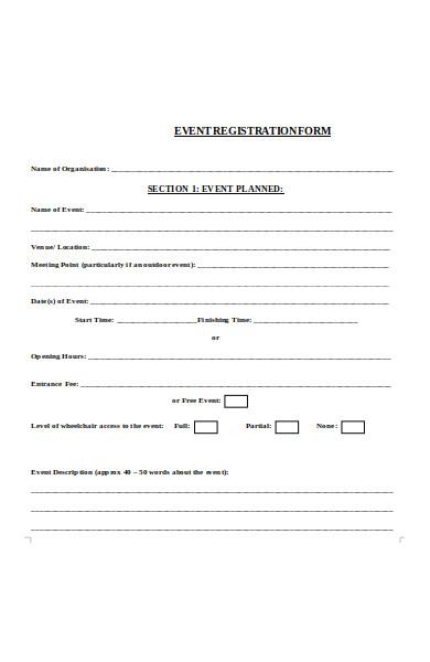 planned event registration form