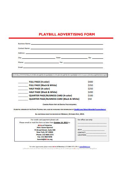 playbill advertising form