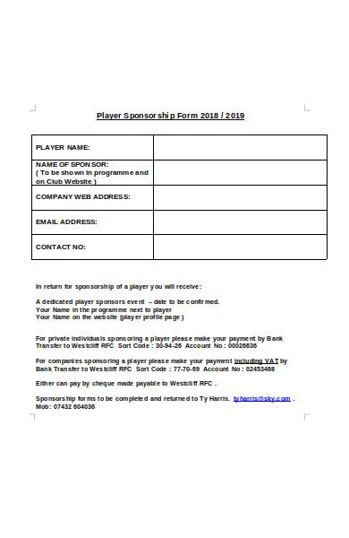 player sponsorship form