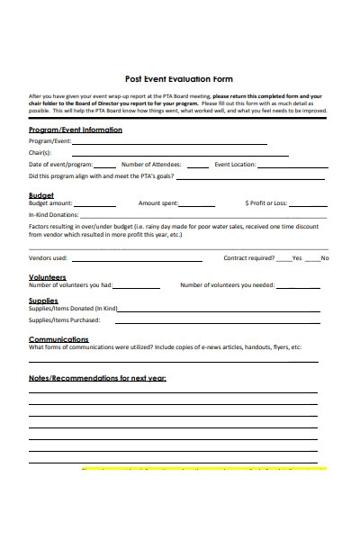 post event evaluation forms