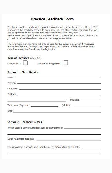 practice feedback form