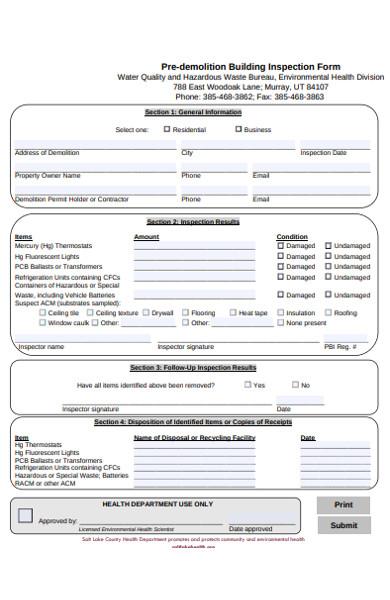 pre demolition building inspection form