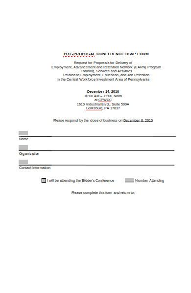 pre proposal rsvp conference form