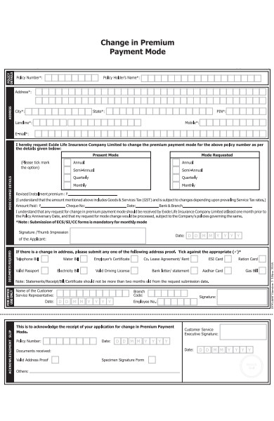 premium payment mode form
