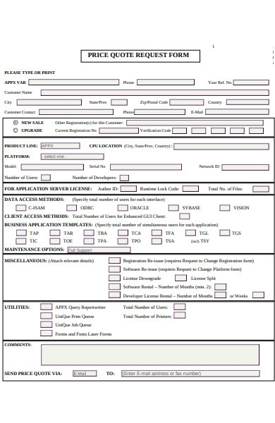 price quote request form