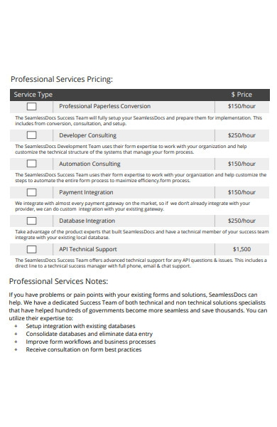 pricing quote form