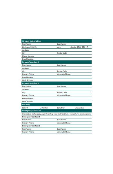 printable camp registration form