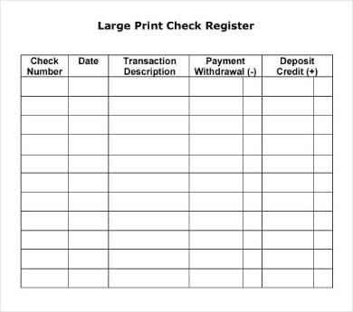 printable check register form sample