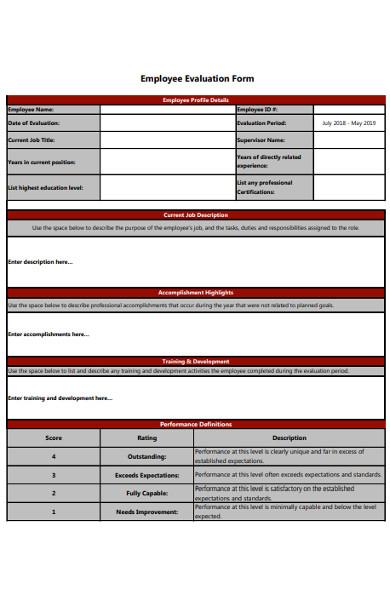 printable employee evaluation form