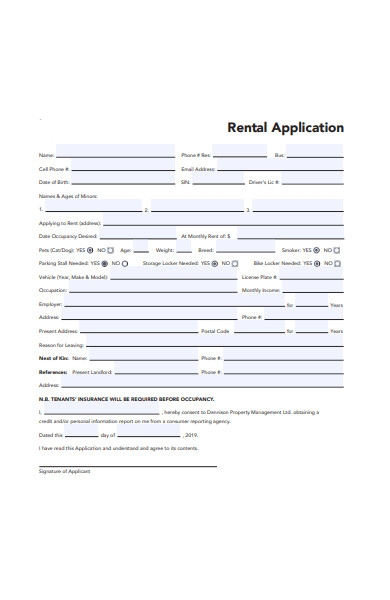 printable rental application form